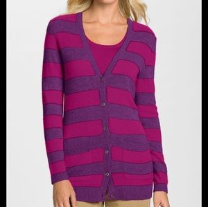 Magaschoni Pink Stripe Feather Cashmere Cardigan